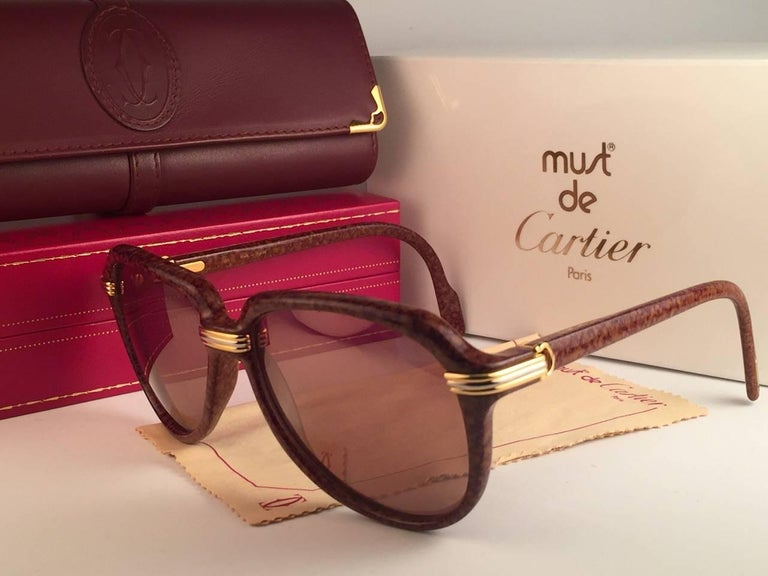 Women's or Men's Vintage Cartier Vitesse Brown Jaspe 58MM 18K Gold Plated Sunglasses France  For Sale