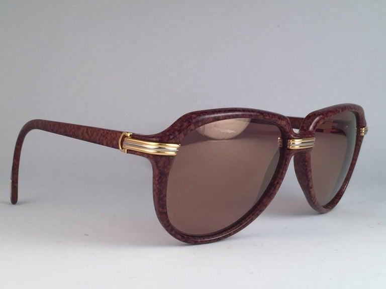Vintage Cartier Vitesse Brown Jaspe 58MM 18K Gold Plated Sunglasses France  For Sale 1