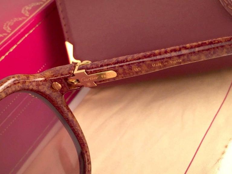 Vintage Cartier Vitesse Brown Jaspe 58MM 18K Gold Plated Sunglasses France  For Sale 4