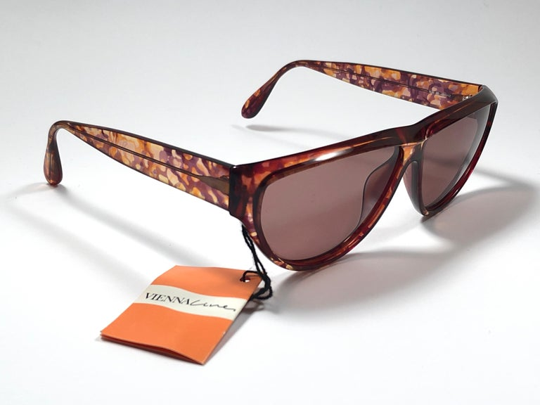 Brown New Vintage Viennaline 1636 Translucent Camouflage Sunglasses Germany 1980 For Sale