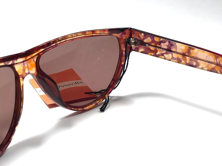 Women's New Vintage Viennaline 1636 Translucent Camouflage Sunglasses Germany 1980 For Sale