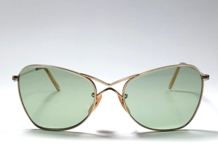16273a2084b5 New Super special 1940 s vintage Ray Ban Aviator 12K gold filled frame with  light green lenses