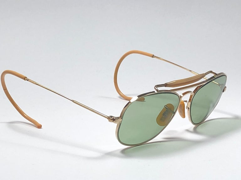 569ce6ed4f Brown Rare Vintage 1940 Ray Ban Oudoorsman Smallest Size 12K Gold Filled  Sunglasses For Sale