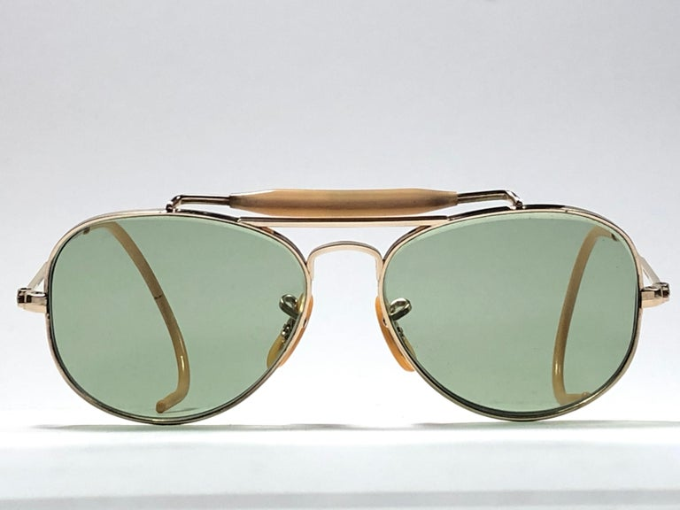6724b4f197 ... Smallest Size 12K Gold Filled Sunglasses For Sale. New Super special 1940 s  vintage Ray Ban Oudoorsmas Aviator 12K gold filled frame with light green