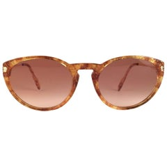 Cartier Aurore Jaspe Gold Sunglasses Brown France 18k Gold 1991