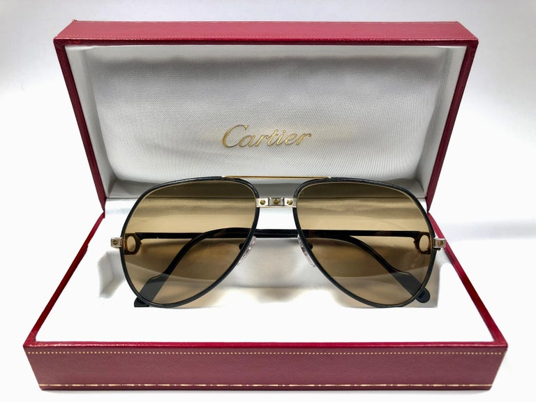 4cd37895942 Brown Rare Vintage Cartier Santos Screws Leather Edition 59mm 18K Sunglasses  France For Sale