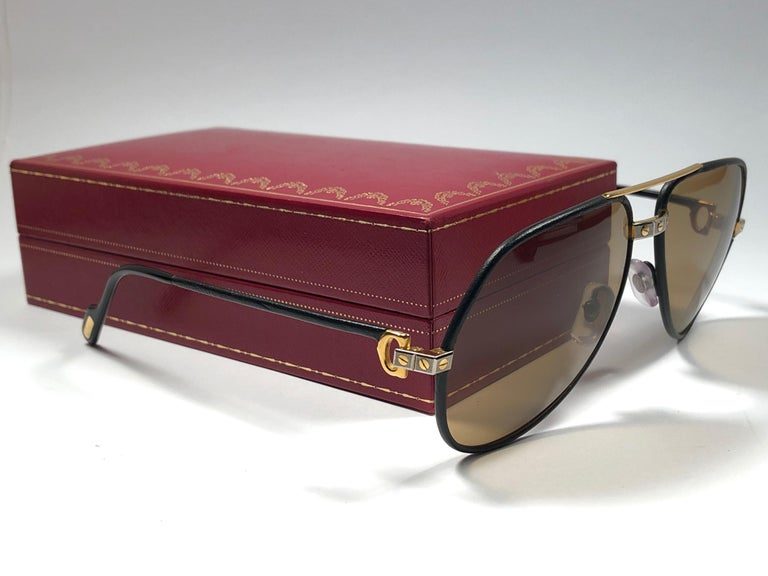 3bfb029a80 Rare Vintage Cartier Santos Screws Leather Edition 59mm 18K Sunglasses  France For Sale 2