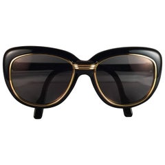 Cartier France Vintage Conquete 51mm Black Gold and Yellow Inserts Sunglasses