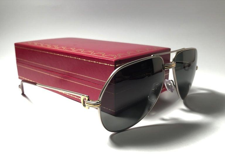 Brown Vintage Cartier Vendome Titanium 59 Grey Lens Heavy Plated Sunglasses France For Sale