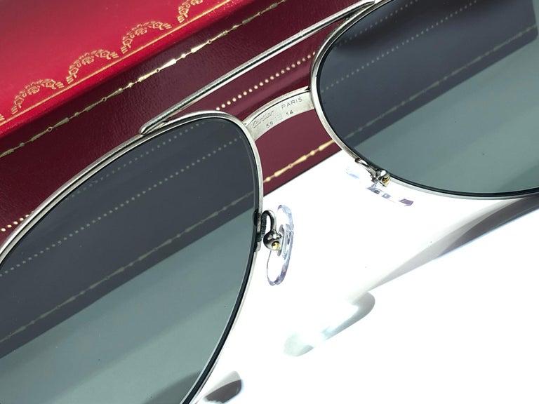 Women's or Men's Vintage Cartier Vendome Titanium 59 Grey Lens Heavy Plated Sunglasses France For Sale
