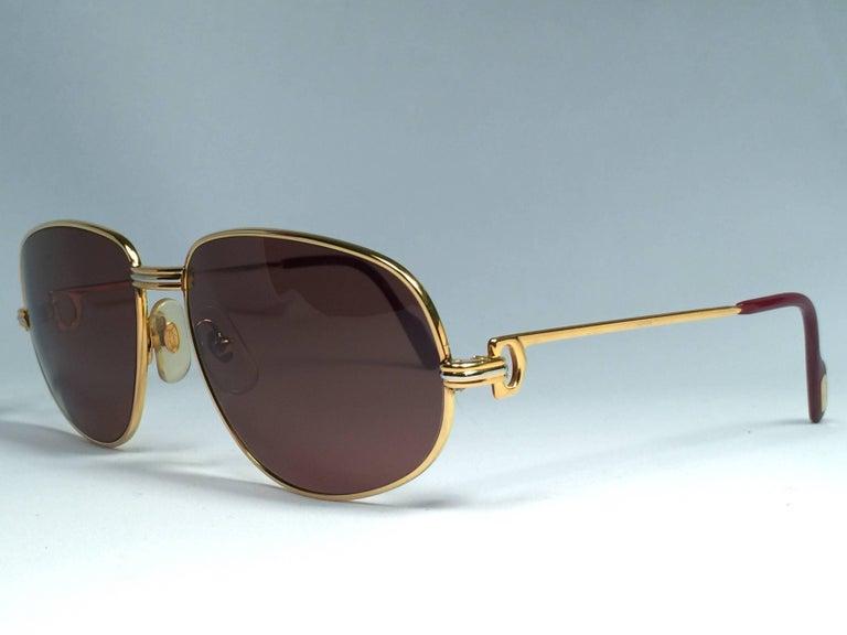 Women's or Men's New Vintage Cartier Romance Vendome 54MM France 18k Gold Plated Sunglasses For Sale