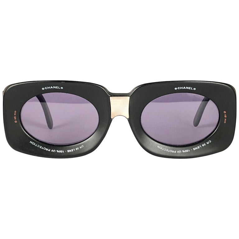 51988258634 Chanel Vintage Camera Lens Black   Grey Sunglasses Made in Italy Collector  Item For Sale