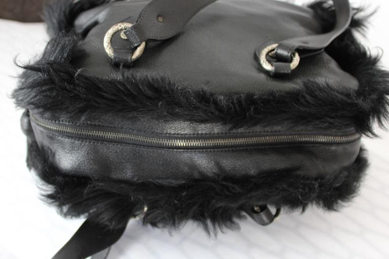 1990s Moschino Black Fur and Leather Hand Bag  For Sale 1