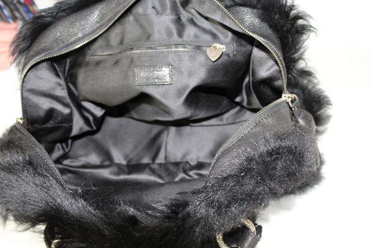 1990s Moschino Black Fur and Leather Hand Bag  For Sale 4