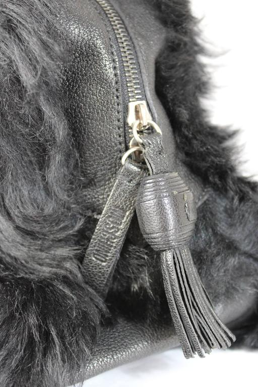 1990s Moschino Black Fur and Leather Hand Bag  For Sale 2