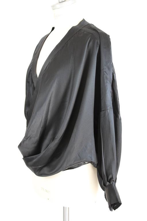1980s Gianfranco Ferrè Black Silk Surplice Draped Shirt 2