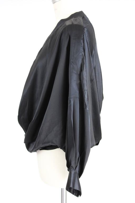 1980s Gianfranco Ferrè Black Silk Surplice Draped Shirt 3