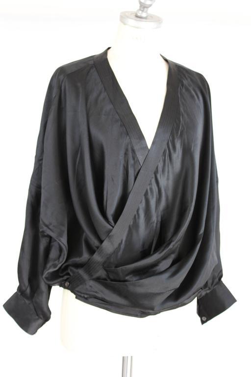 1980s Gianfranco Ferrè Black Silk Surplice Draped Shirt 4