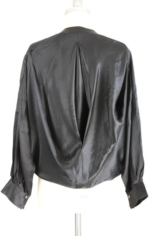 1980s Gianfranco Ferrè Black Silk Surplice Draped Shirt 5