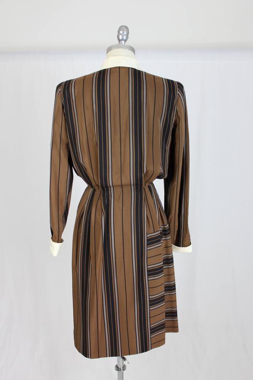 Women's 1980s Salvatore Ferragamo Brown and Black Silk Empire Waist Dress For Sale