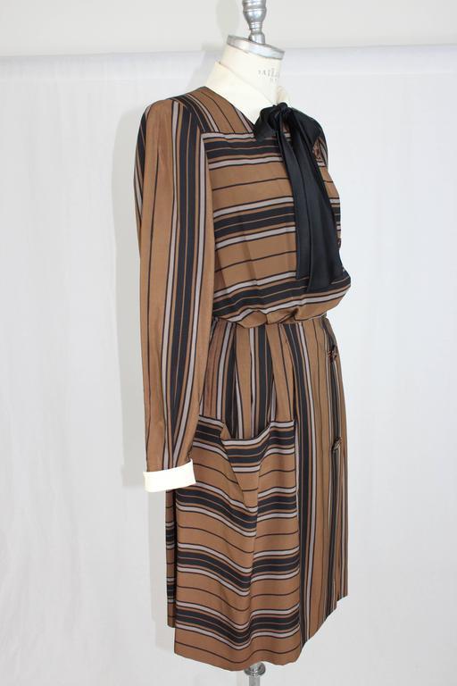 1980s Salvatore Ferragamo Brown and Black Silk Empire Waist Dress For Sale 1