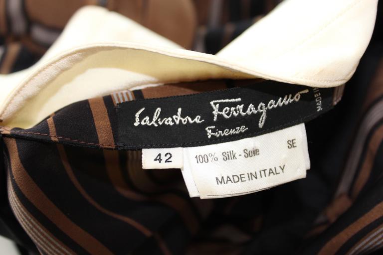1980s Salvatore Ferragamo Brown and Black Silk Empire Waist Dress For Sale 6