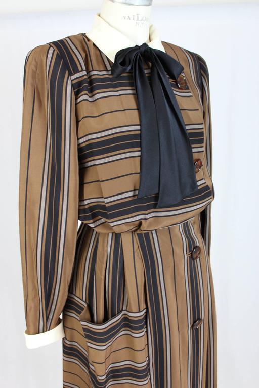 1980s Salvatore Ferragamo Brown and Black Silk Empire Waist Dress For Sale 2