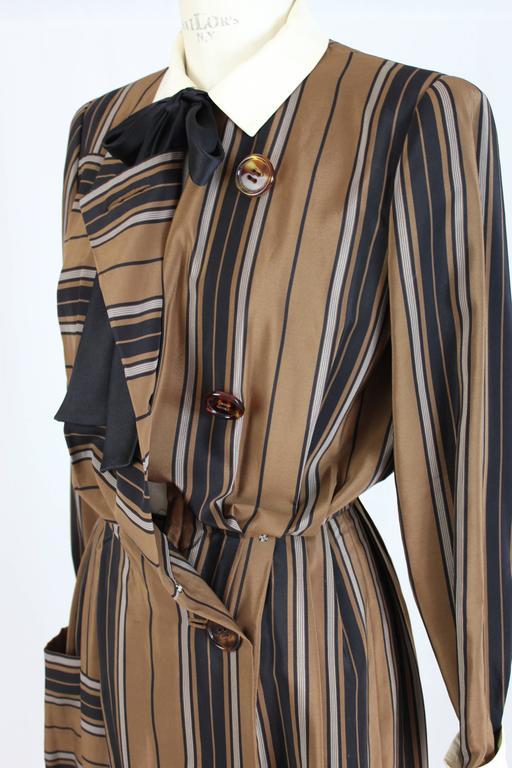 1980s Salvatore Ferragamo Brown and Black Silk Empire Waist Dress For Sale 3