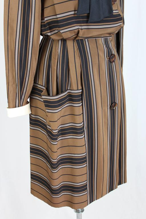 1980s Salvatore Ferragamo Brown and Black Silk Empire Waist Dress For Sale 4