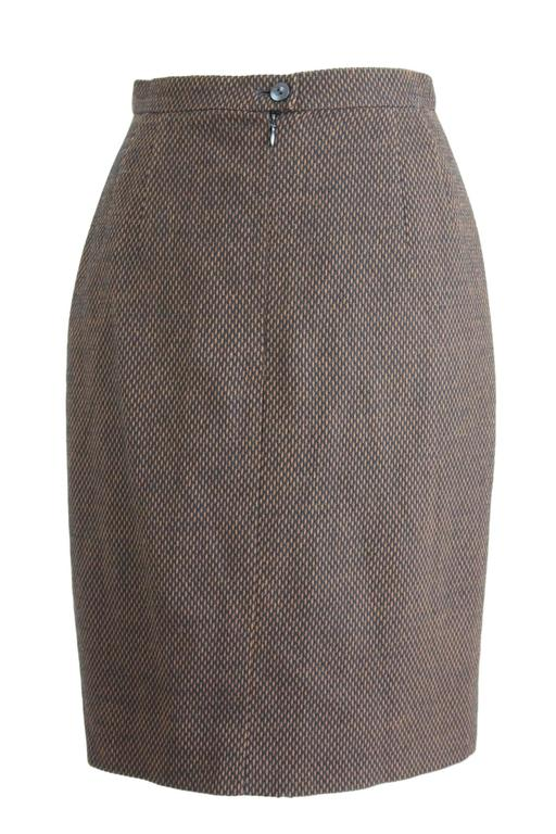 Gray 1980s Escada By Margaretha Ley Brown & Black Pique Wool Pencil Skirt  For Sale