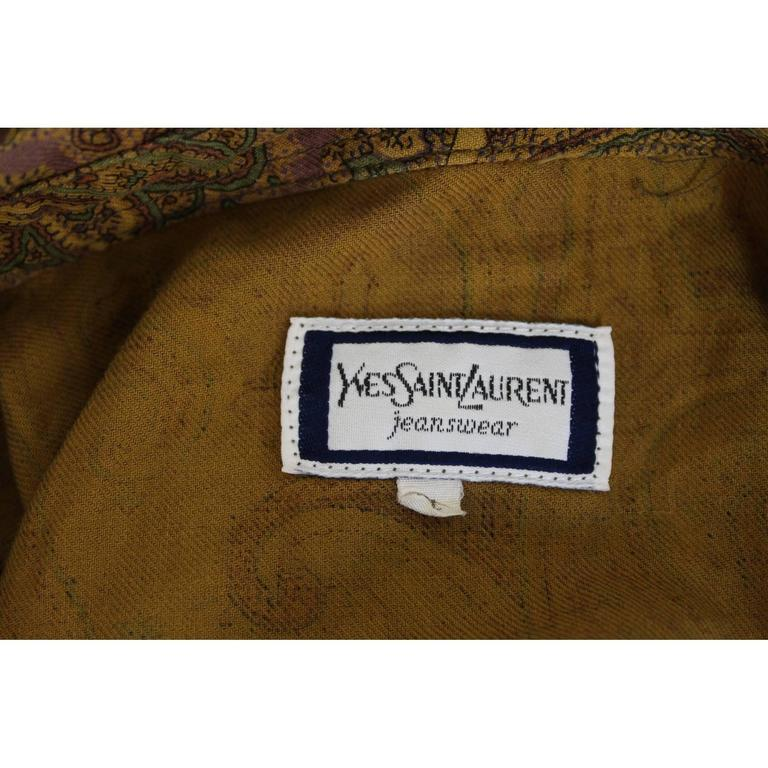 1980s Yves Saint Laurent Brown Cotton Red Paisley Shirt For Sale 1