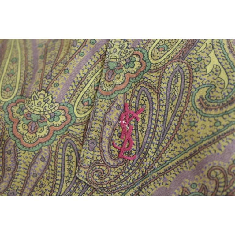 Men's 1980s Yves Saint Laurent Brown Cotton Red Paisley Shirt For Sale