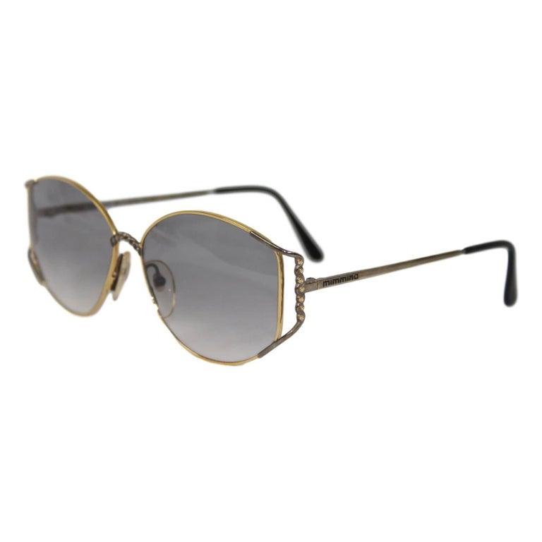Mimmina R 119 Gold Color Frame Gray Shape Italian Sunglasses, 1980