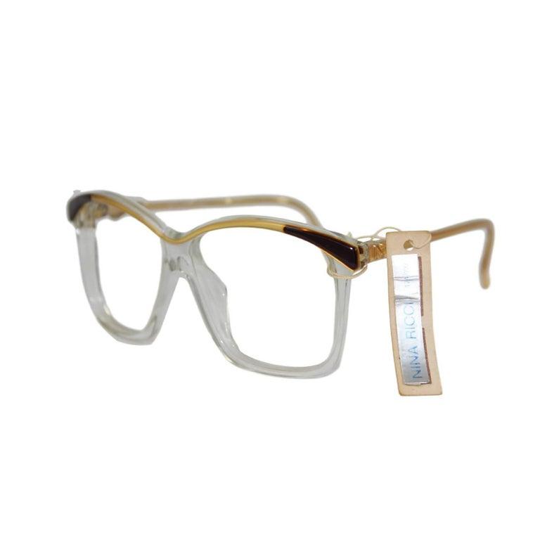 Nina Ricci vintage sunglasses mod. 158 bone gold and gray shell eyeglasses women