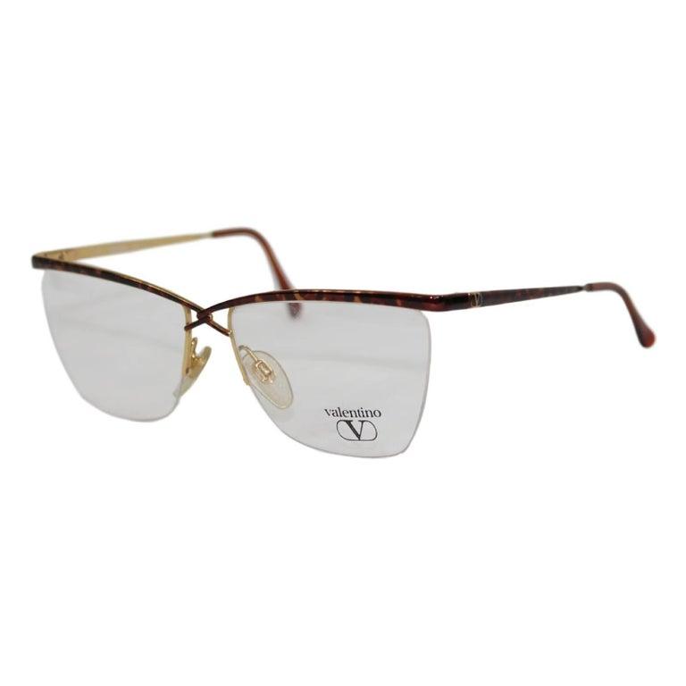 Valentino vintage frame eyeglasses V360 tortoise print brown gold men's italy