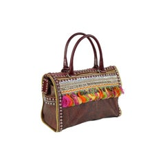 Etrò Milano leather studded paisley brown handbag paillettes made italy 2000s