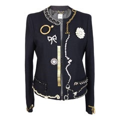 Moschino Blazer Blue Wool Jewelry Italian Jacket, 1990s