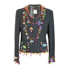 Moschino vintage jacket gems multicolored blue high fashion rare cotton size 12