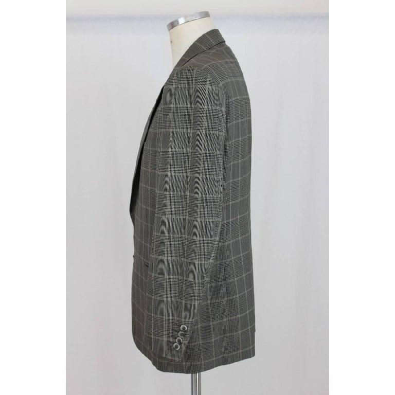 Lanvin Paris vintage wool check black gray classic jacket, size 50 it, two pockets on waist, excellent condition.  Size: 50 It 40 Us 40 Uk  Shoulder: 50 cm Armpit to armpit: 55 cm Sleeve: 62 cm Length: 83 cm  Composition: 100% wool Color: black