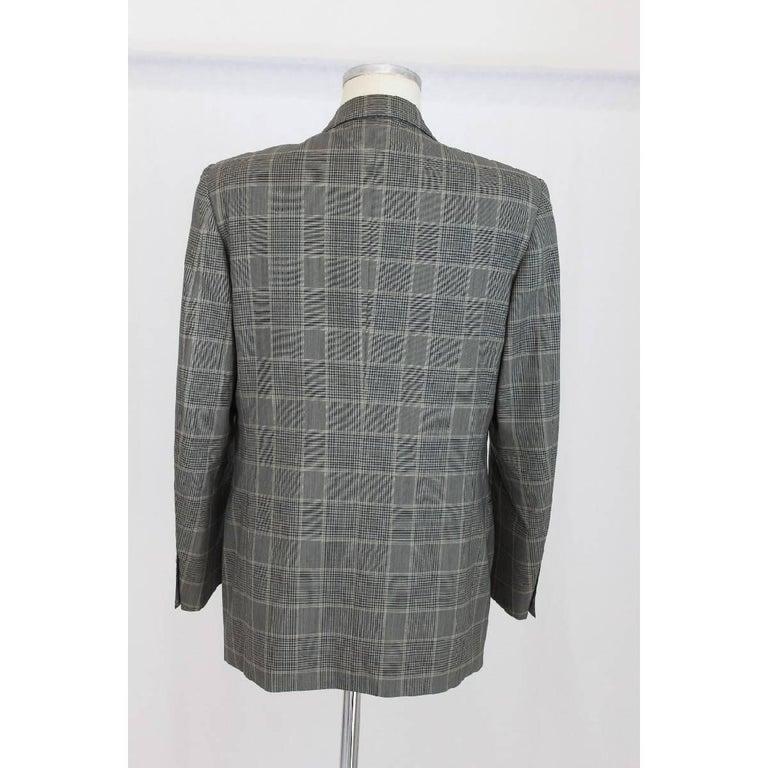 Gray Lanvin Paris vintage pure wool check black gray classic jacket size 50 it 1970s  For Sale