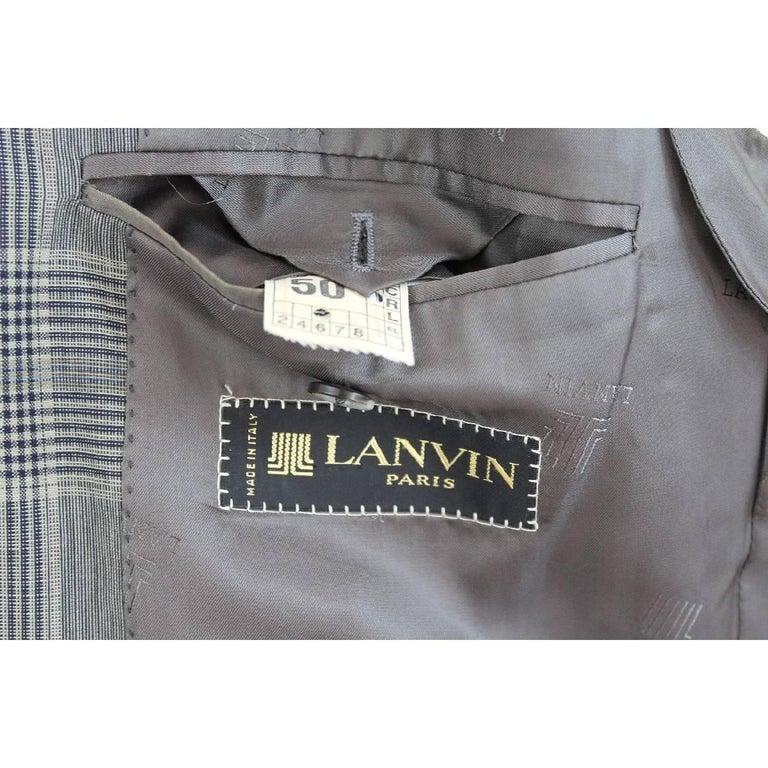Men's Lanvin Paris vintage pure wool check black gray classic jacket size 50 it 1970s  For Sale