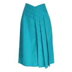 Alberta Ferretti vintage cotton light blue skirt size 46 it made italy