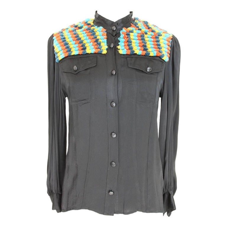 Moschino shirt black vintage multicolored wool shoulder slim fit 1980s polo neck
