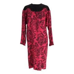 Pierre Cardin Paris vintage wool velvet floral black purple tunic dress, 1960s