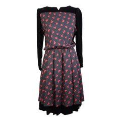 Valentino vintage black floral wool long dress size 42 1990s