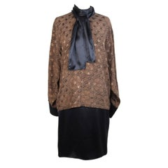 Genny by Versace vintage black brown paisley silk suit skirt, 1980s