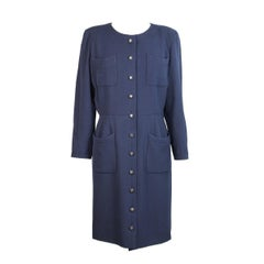 Chanel Boutique wool blue long dress women's size 44 it vintage 1980s