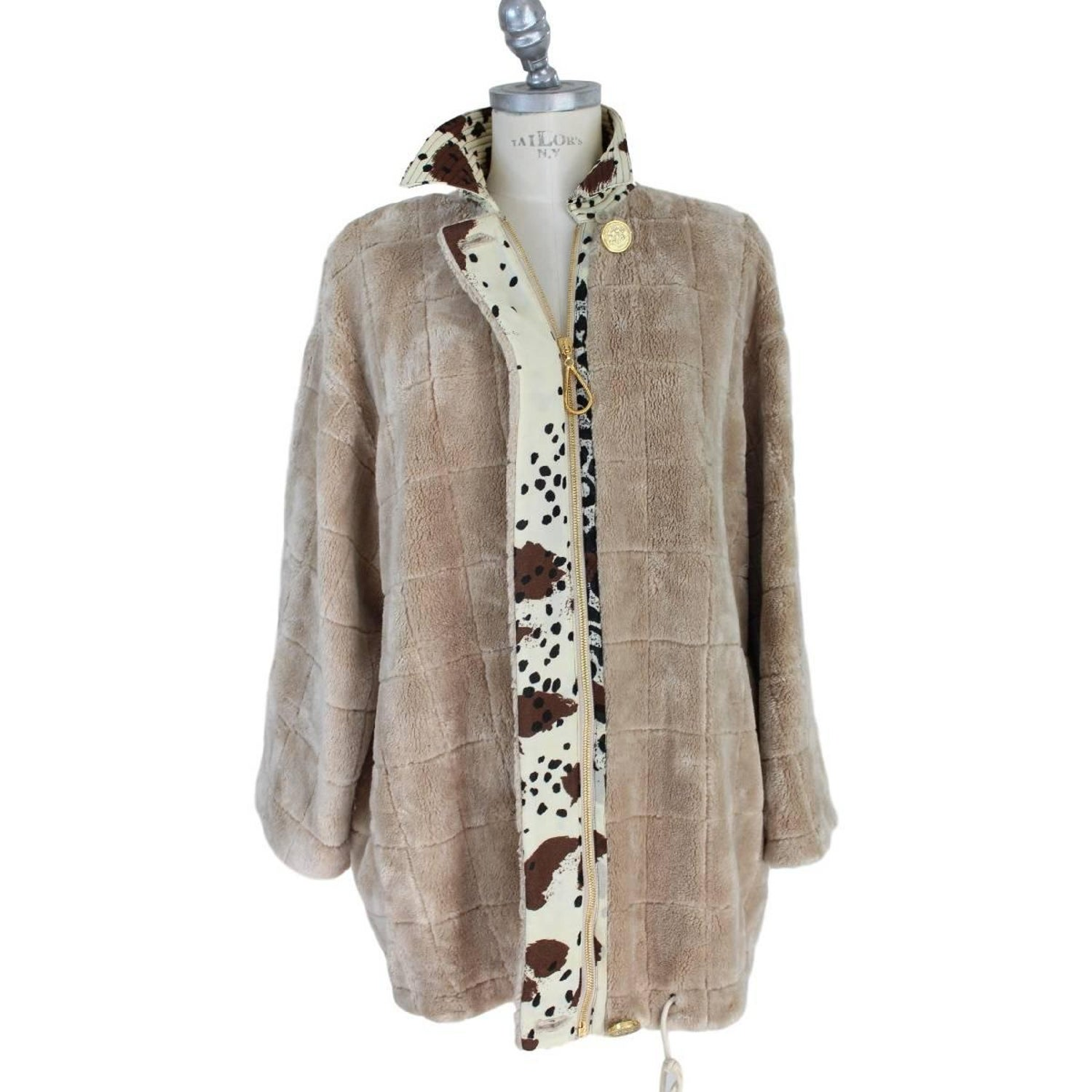 Vintage faux fur jacket, nude women gettig spanked