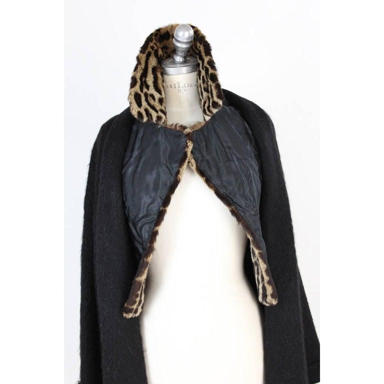 Women's Gianfranco Ferre vintage wool angora and leopard fur jacket black  For Sale