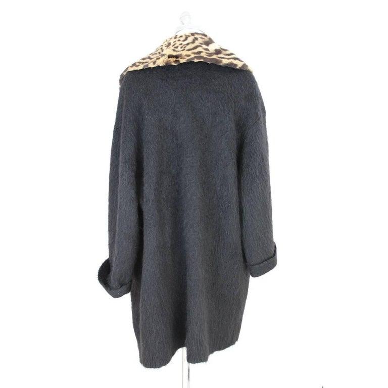 Black Gianfranco Ferre vintage wool angora and leopard fur jacket black  For Sale
